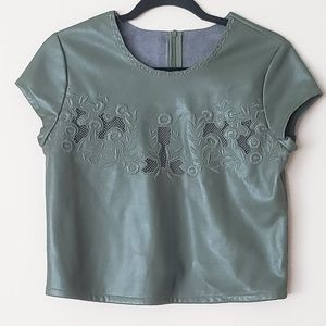 Faux leather embroidered top
